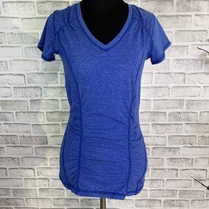 Zella Women's Ruched Waist Short Sleeve Top Blue